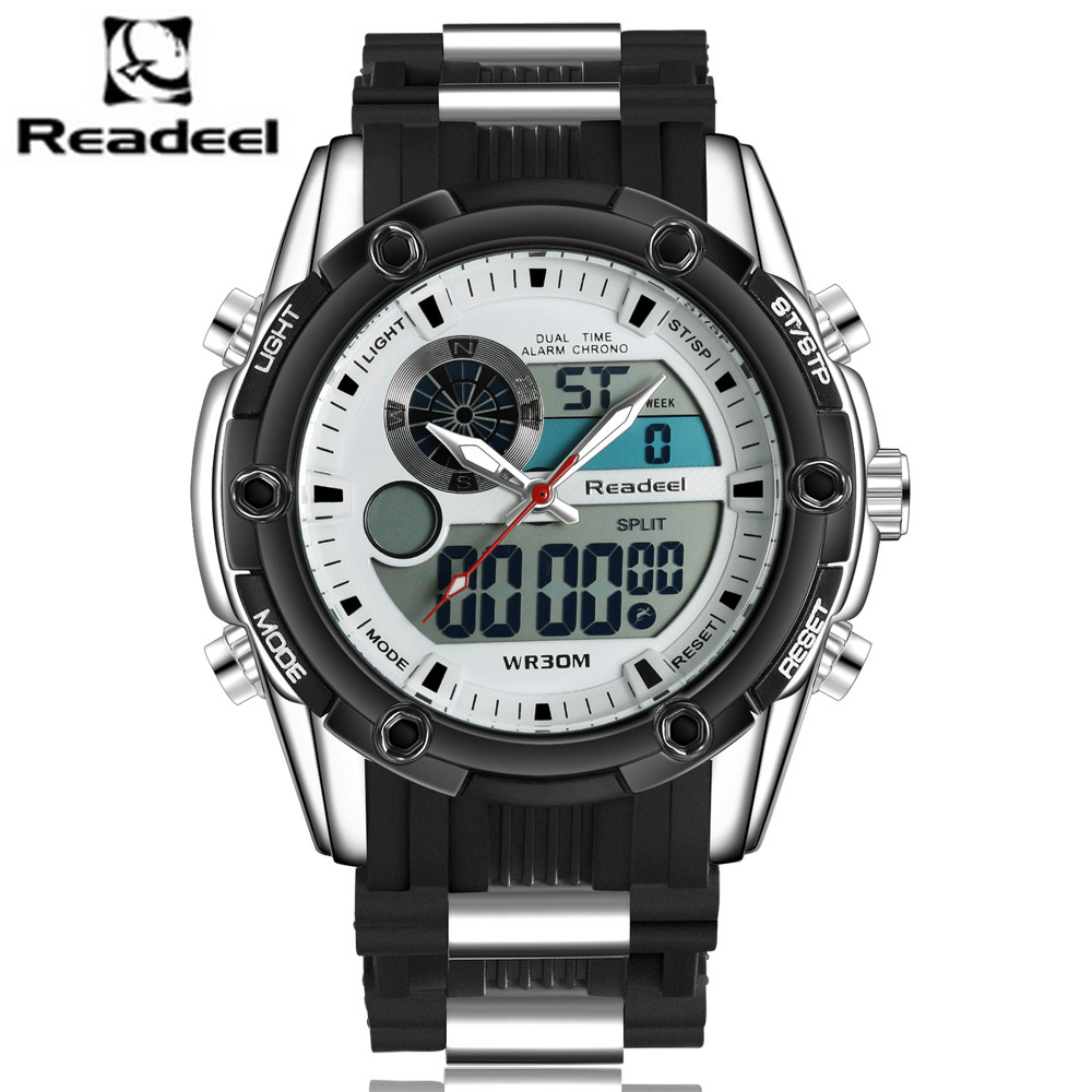 все цены на Top Luxury Brand Men Sports Watches Men's Quartz Analog LED Clock Man Fashion Sports Army Military Wrist Watch Kol Saati 2017