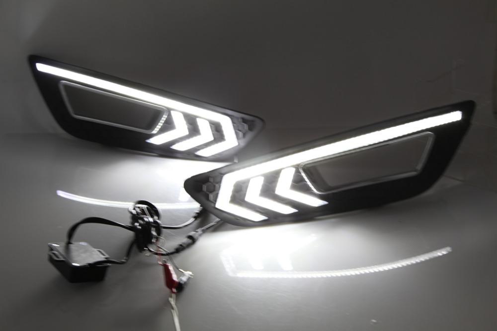 Osmrk new arrival led drl daytime running light for Ford focus 4 2015-17, top quality, with dimmer function, yellow turn signal osmrk led drl daytime running light fog lamp for kia k2 rio 2014 015 with dimmer function top quality 2pcs