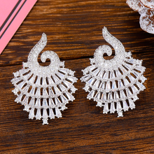 SISCATHY Luxury Popular Full Mirco Paved Cubic Zircon Earrings Fashion Big Stud Statement Naija Wedding Earring Fashion Jewelry