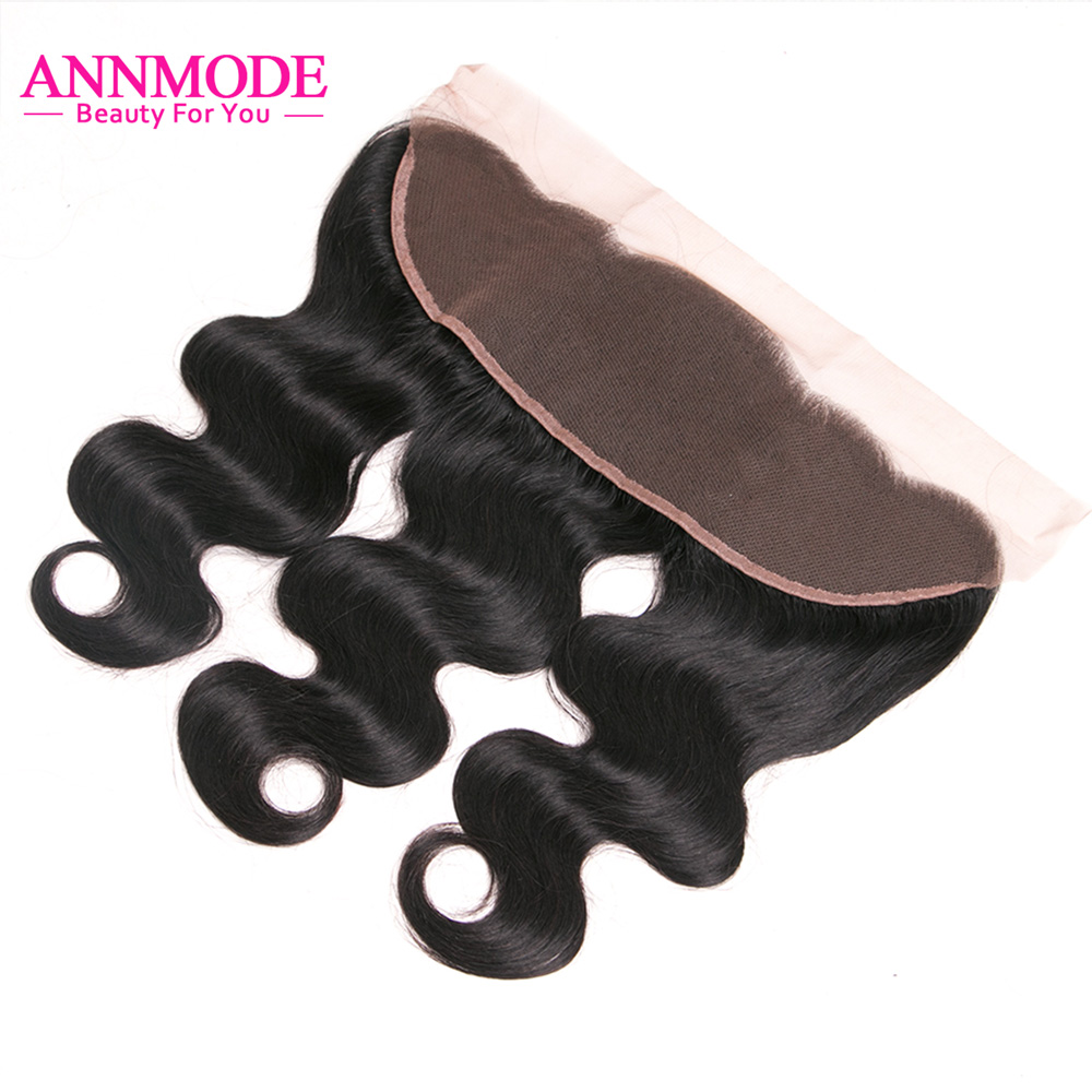 Annmode Hair Body Wave Indian Human Hair 13x4 Ear To Ear Lace Frontal Closure Non Remy Human Hair Closure Free Part 8-20 Inch