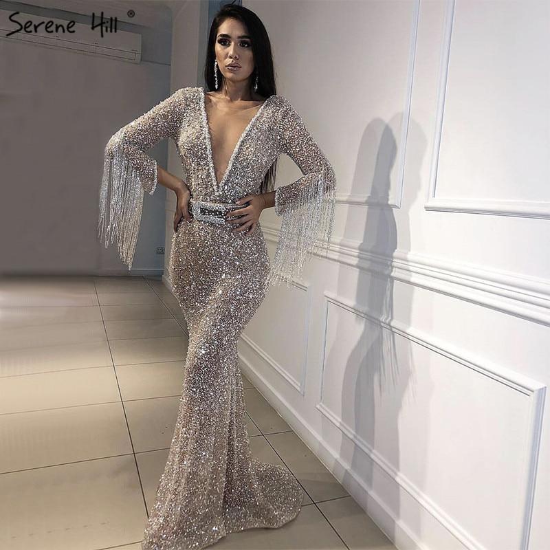 520c9481 Luxury Pink Navy Blue Beading Mermaid Tulle Evening Dress V-Neck Long  Sleeves Elegant Evening Gowns 2019 Real Photo LA6010USD 220.00/piece