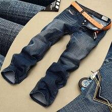 Модные байкерские джинсы на пуговицах, брендовые Дизайнерские мужские джинсы, высокое качество, синий, черный цвет, Прямые рваные джинсы для мужчин