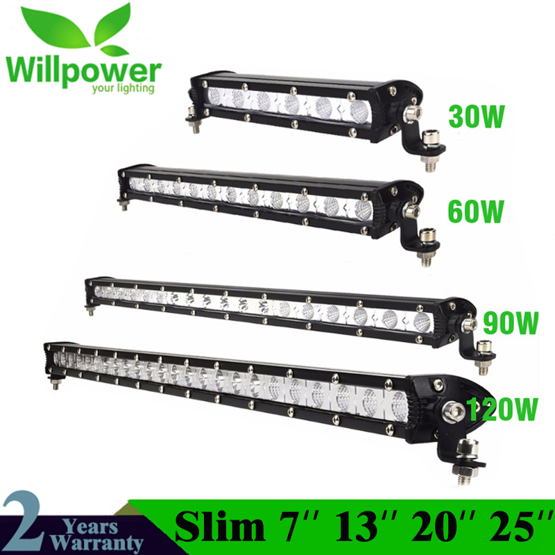 Slim 30W 60W 90W 120W Led Light Bar Work Lights 12v Spot Flood Combo Beam for Truck Tractor ATV SUV 4X4 4WD Offroad Headlights car styling 120w 10 9inch led light bar offroad 24v cree chip driving work lamp for truck suv atv 4x4 4wd spot flood combo beam