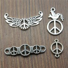 50%OFF(10 pcs or more) Vintage Antique Silver Plated Peace Charms Pendants For Bracelets Peace Connector Charms Making Jewelry(China)