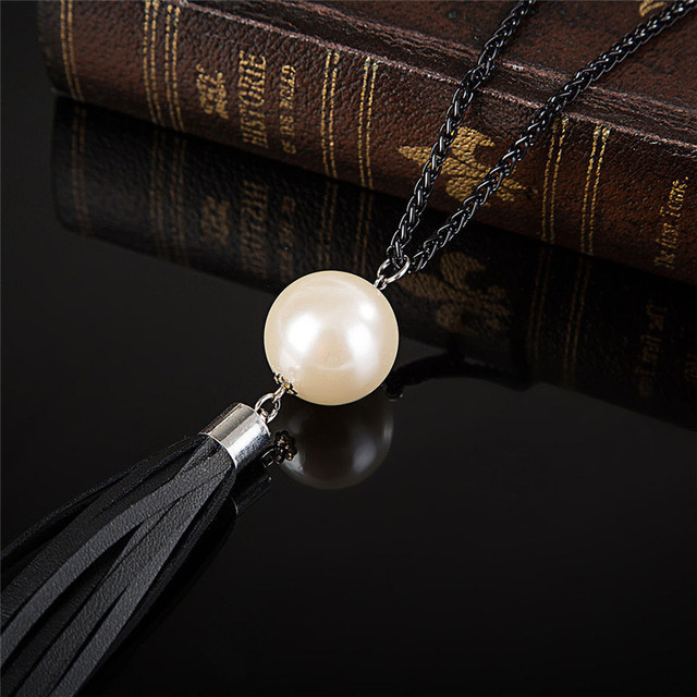 ZN 2018 NEW  Arrival Tassel Pendant Sweater Chain Long Beads Necklace For Women Girls Fashion Jewelry Gift