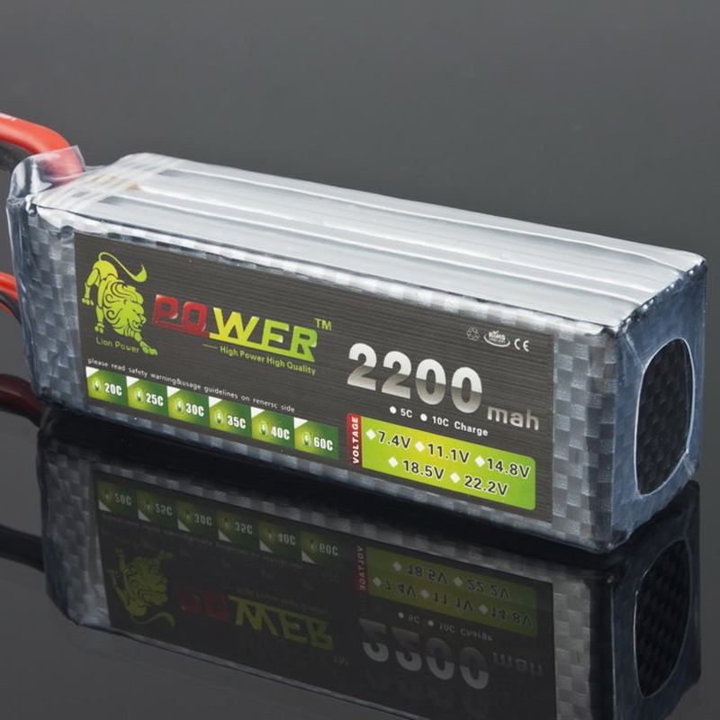 1pcs Lion Power <font><b>14.8V</b></font> <font><b>2200MAH</b></font> 40C max 45C LiPo RC Battery For Airplane image