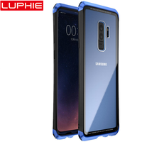 LUPHIE Case For Samsung Galaxy S9 S8 Plus Note 9 8 Clear Glass Case Cover For Samsung S8 S9 Metal Bumper Transparent Cases Shell