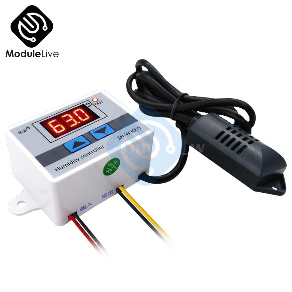 W3005 220V 12V 24V Humidity Controller Digital LED Display  Hygrometer Humidity Control Switch Hygrostat  SHT20 Sensor