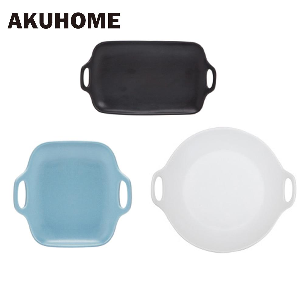 Scrub Double Handle Advanced Glaze Japanese Style Ceramics Tableware Food Plate Square font b Salad b