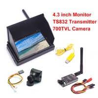 4.3 cala 48CH LCD 480x22 bezprzewodowy odbiornik Monitor wbudowana bateria TS832 48CH 600mW 700TVL 2.8mm PAL kamera dla FPV RC Drone