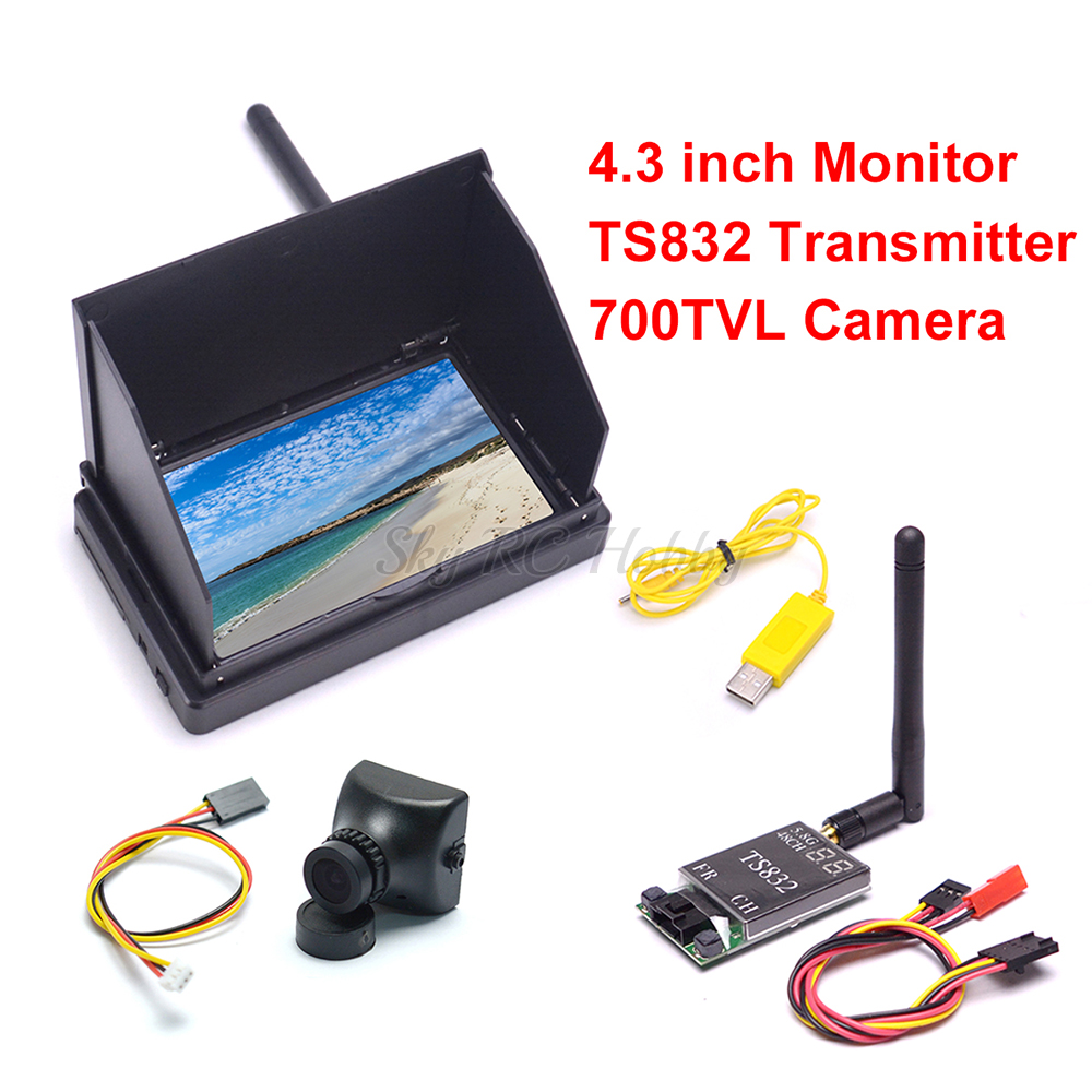 4.3inch 48CH LCD 480 X 22 Wireless Receiver Monitor Built-in Battery TS832 48CH 600mW 700TVL 2.8mm PAL Camera For FPV RC Drone