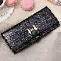 Fashion Brand Design Cowhide Leather Women Long Wallet High Quality Luxury Crocodile Grain Female Clutch Purse