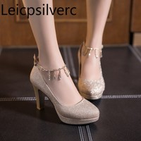 Pumps Spring and autumn fashion Crystal Round head Shallow mouth Buckle Thick heel High heel Women's shoe plus size 31 46