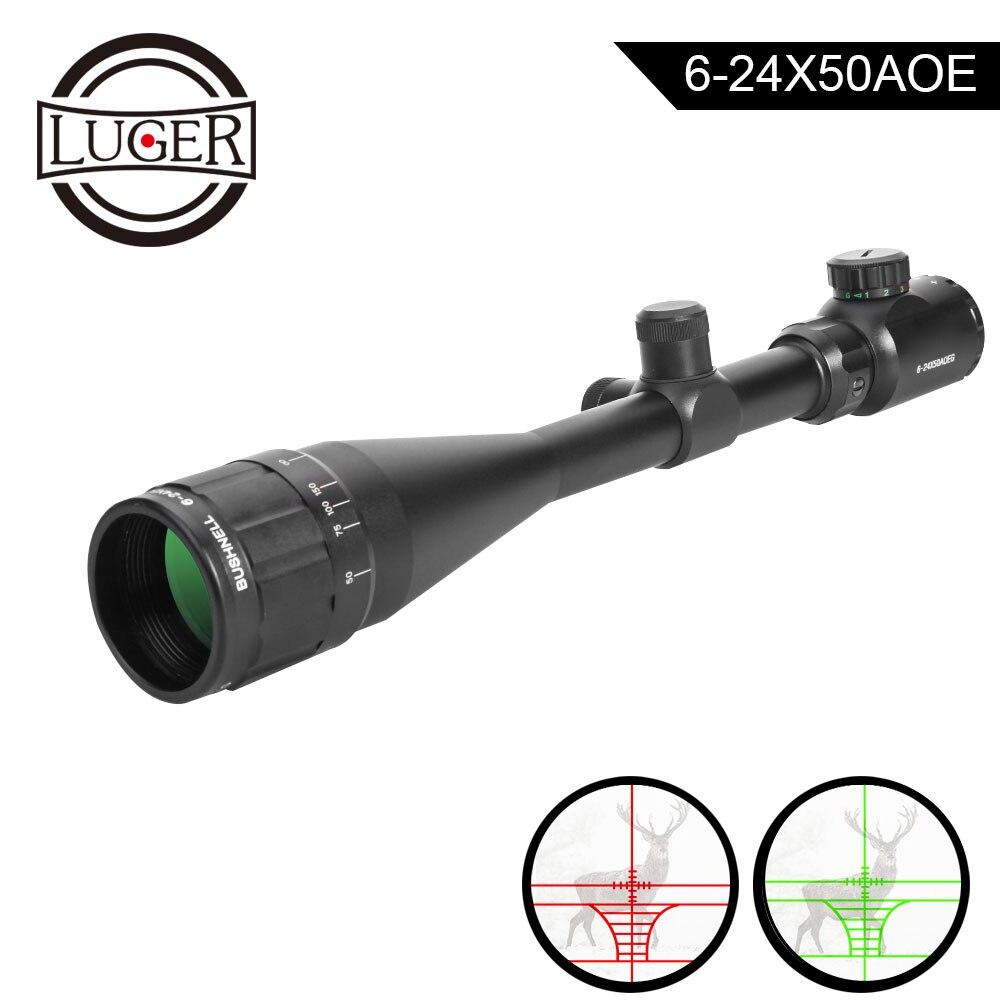 6-24x50AOE portée Lunette Chasse Optique Lunettes Réglable Rouge Green Dot Illuminé Crosshair Vue Réticule Portée