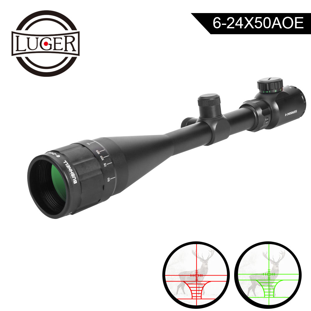 LUGE Hunting Scope 6-24x50 AOE Tactical Optical Riflescope Red And Green Illuminated Rifle Scope For Airsoft Air Guns Rifle