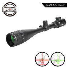 LUGE Hunting Scope 6-24x50 AOE Tactical Optical Riflescope Red and Green Illuminated Rifle Scope For Airsoft Air Guns Rifle carl zeiss 6 24x50 tactical optical riflescope long eye relief rifle scope airsoft sniper rifle optics hunting scope