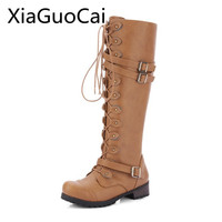 Foreign Trade Long Genuine Leather Women Boots Knee high European and American Motorcycle Boots Shoes