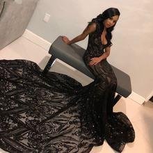 Блестящие блёстки черные платья Русалочки для выпускного вечера