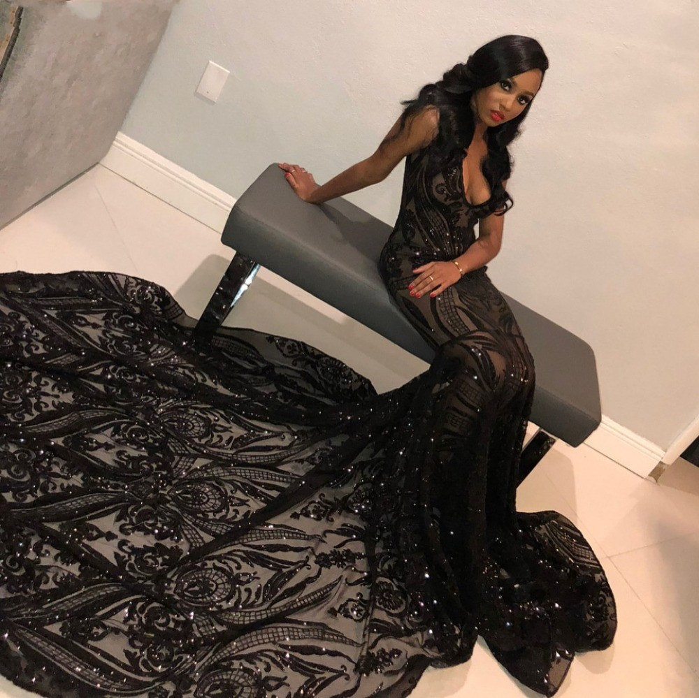 Sparkly Sequins Black Mermaid   Prom     Dresses   2019 Sexy African Black Girls Long Train   Prom   Graduation Party Gowns Gala   Dress