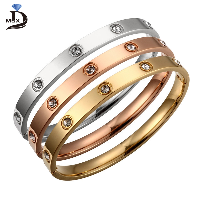 Trendy Rose Gold Love Bracelets Bangles Women Gold Color Stainless Steel Charming CZ Cuff Bracelet Lovers Luxury Brand Jewellery charming rhinestone geometric cuff bracelet for women