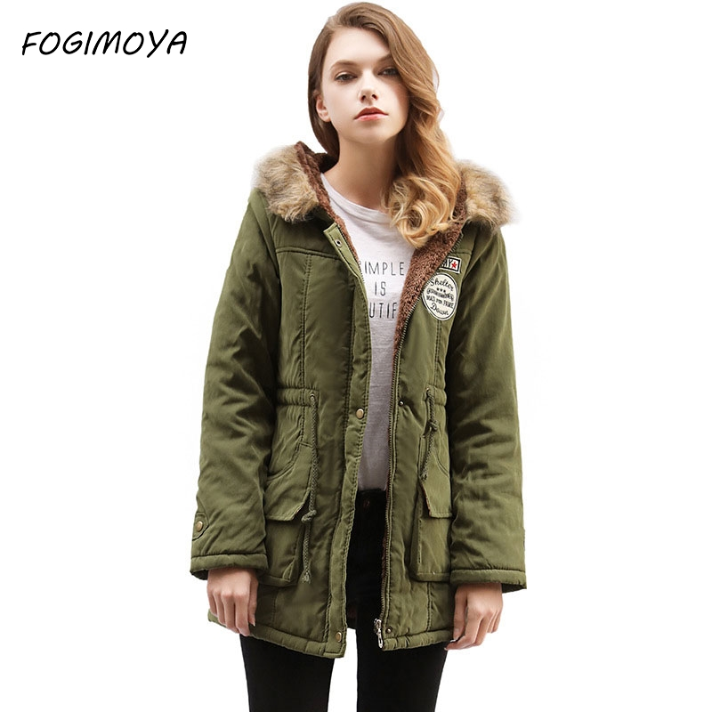 FOGIMOYA Long Coat Women Casual Winter Letter Embroidery Thick Hody Loose Parkas Women's 2017 Long Sleeve Zipper Pockets Jackets