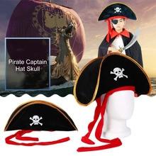 Пиратская кепка, шляпа, череп и скрещенные кости, дизайнерский Кепка, костюм для Маскарадного платья, вечерние, на Хэллоуин, полиэстер, распродажа