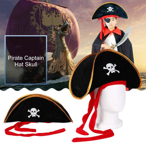 Pirate Captain Hat Skull & Crossbone Design Cap Costume for Fancy Dress Party Halloween Polyester 2020 Sales(China)
