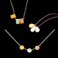 10Pcs Geometric Shape Beads Metal Necklaces Pendants Women Collarebone Collier High Quality Stainless Steel Jewelry Party