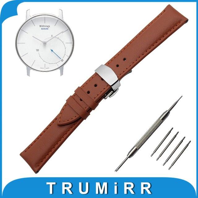 18mm reloj de cuero genuino banda de withings activite/acero pop butterfly hebilla correa de pulsera pulsera de la correa negro marrón