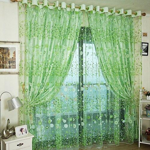 Window Sheer Valance Floral Curtain Bedroom Home Room Wedding