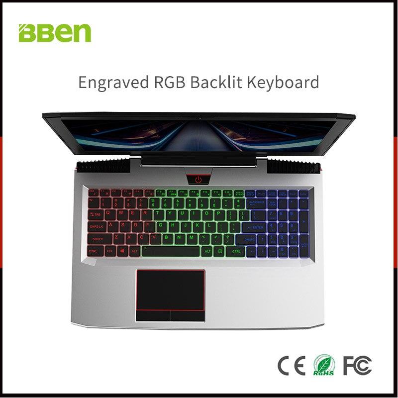 BBEN Laptop Nvidia GTX1060 GDDR5 Intel i7 Kabylake 8 GB RAM M.2 SSD RGB Teclado retroiluminado Win10 WiFi BT juego ordenador 15,6 ''IPS
