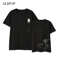 Kpop BTS ALIPOP Amar a Si Mesmo Álbum De Aniversário Camisas Hip Hop ocasional Solto Roupas Camisa Camiseta T Tops de Manga Curta T-shirt DX549