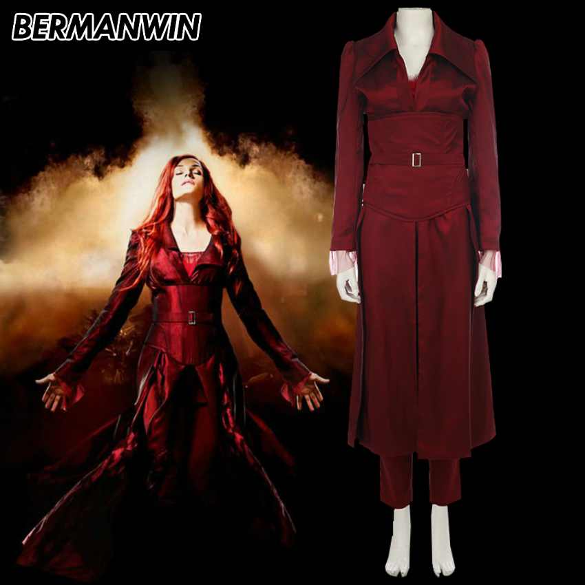 BERMANWIN High Quality X-Men Phoenix Costume Phoenix Jean Grey Halloween cosplay costume for adult women