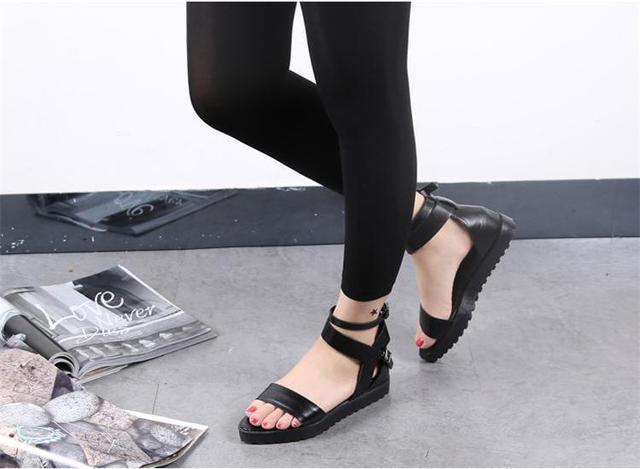 6fb39fcdd63bb Black Strappy Ankle Strap Flat Platform Sandals Women Sexy Black Summer  Platform Sandal Fashion Trendy Black Strappy Flat Sandal