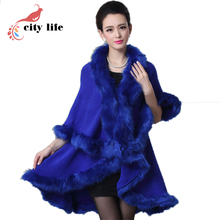 12 Colors Women Cloak Faux Mink Fur Long Poncho 2017 New Fur Collar Woolen Cape Coat Black White Red European Casacos Femininos(China)