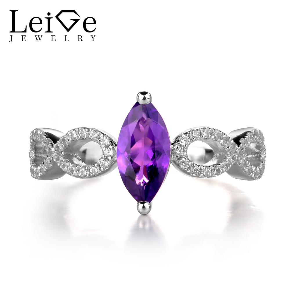 Leige Jewelry Amethyst Ring Marquise Cut Purple Gemstone Sterling Silver 925 Jewelry Engagement Wedding Rings for Women leige jewelry natural amethyst ring purple gemstone oval shaped wedding engagement rings for women sterling silver 925 jewelry