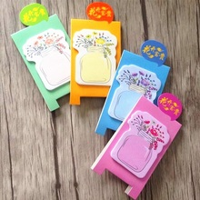 10packs/lot Fresh Vase design Bracket Standing Memo pad Notepad Sticky note  Memopad Writing scratch pad office school supplies