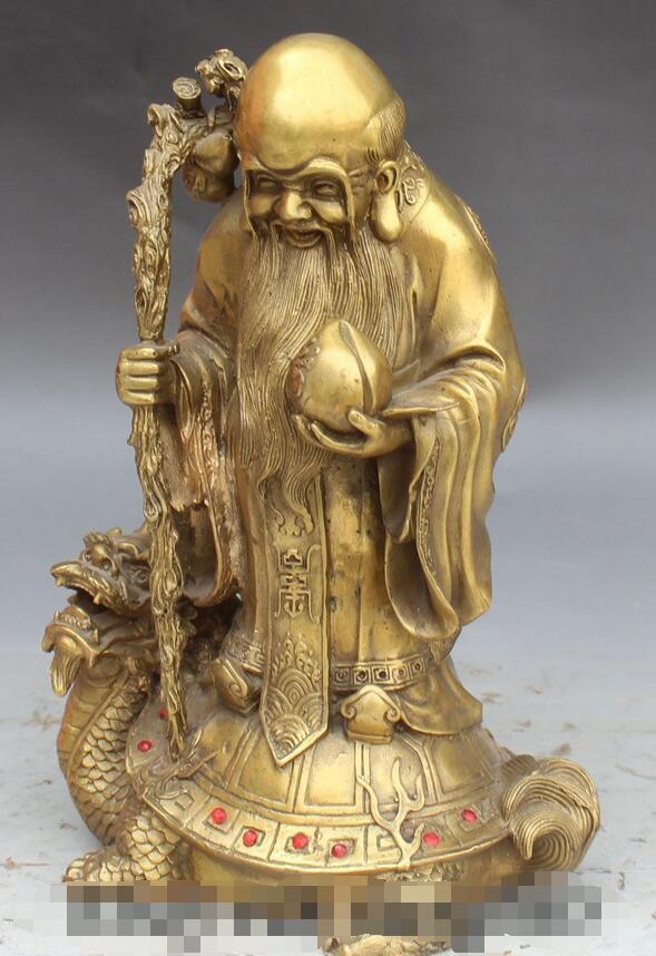 Chinois longue vie Shou Xing Shou dieu Stand Dragon tortue Statue - 3