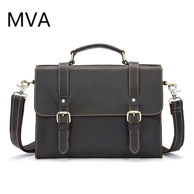 MVA Crazy Horse Genuine Leather Men Bag Leather Laptop Bag Messenger Bags Shoulder Crossbody Bags Men Briefcases Handbag 9027 ms crazy horse genuine leather men bag men s leather bag men messenger bags shoulder crossbody bags man handbag briefcase tw2011
