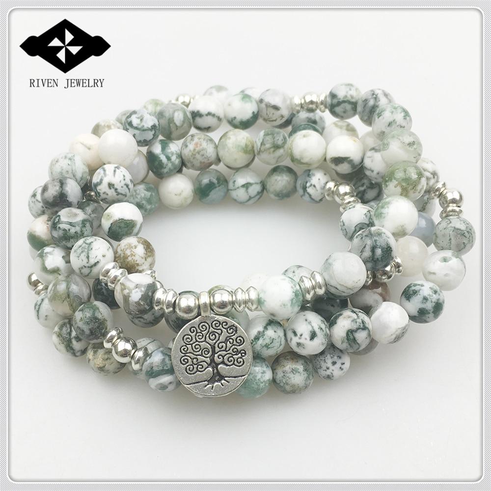 SN1169 Hot Sale Aliexpres 108 Mala Bracelet Tree Pattern Stone Yoga Necklace Best Meditation Spiritual Gift