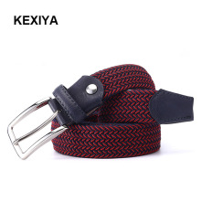 KEXIYA designer men belt mixed two-color stretch braided belt fashion accessories and high quality casual style men's jeans belt