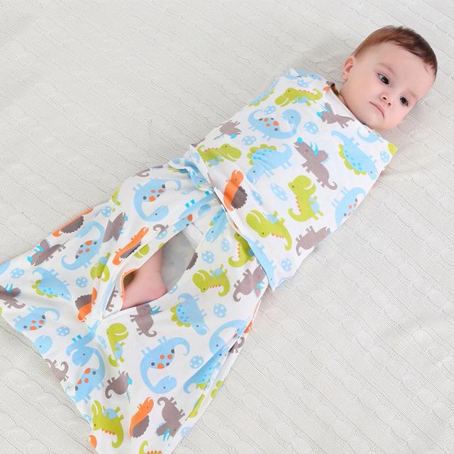 Infantil saco de dormir de algodão envoltório bebê recém-nascido saco de dormir bonito dos desenhos animados jogo do fundamento do bebê verão fina anti asas do salto