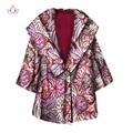 2017 primavera moda trench coat para las mujeres imprimir cera africana de manga larga superior para las mujeres de áfrica mujeres clothing wy1318