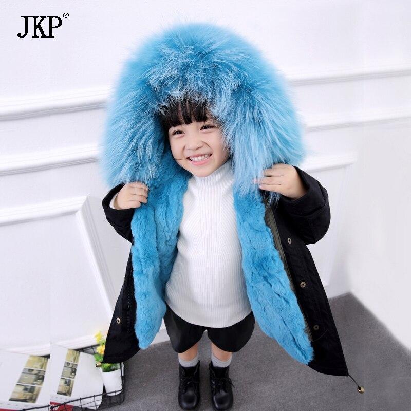 Bambini di inverno Reale della Pelliccia del coniglio Parka Bambini pelliccia di Procione Outwear Cappotti Delle Ragazze Dei Ragazzi di Pelliccia di Coniglio Fodera Staccabile giacca