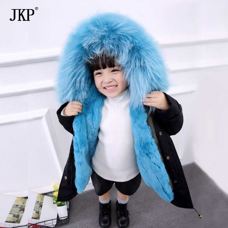 Winter Children Real rabbit Fur Parkas Kids Raccoon fur Outwear Coats Boys Girls Rabbit Fur Detachable Liner jacket 2017 new winter jacket women long coat real large raccoon fur collar hooded and real rex rabbit fur thick warm liner