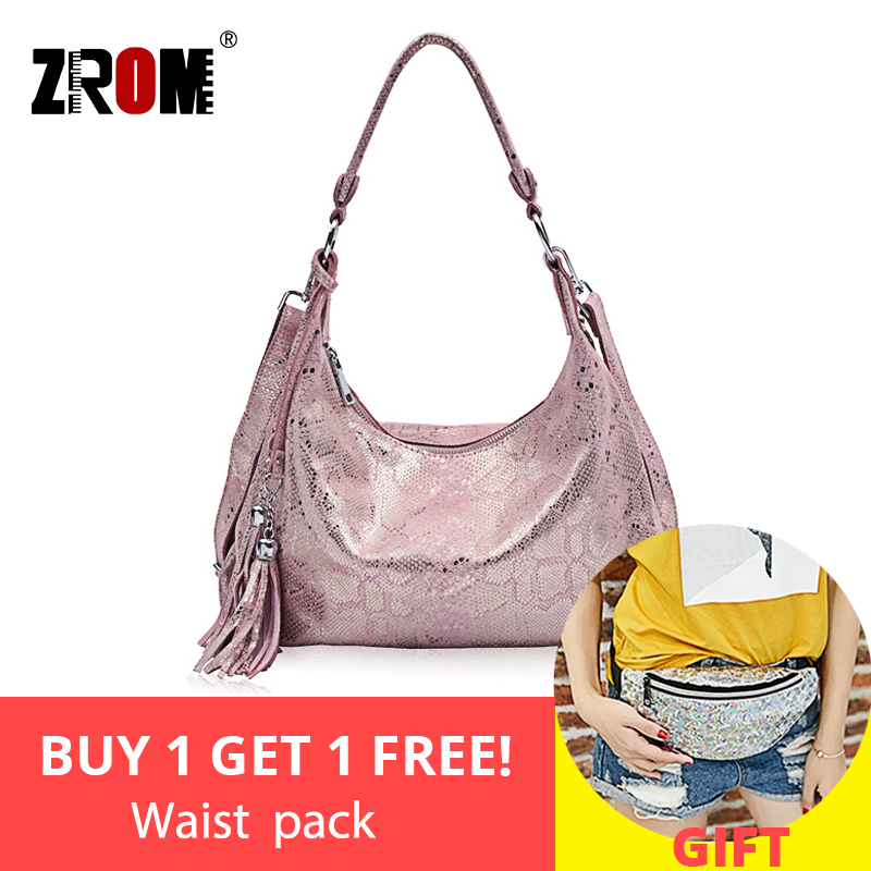 ZROM Brand Genuine Leather Bag Women Fashion Serpentine prints Leather Handbags Female Large Shoulder Bags Hobos