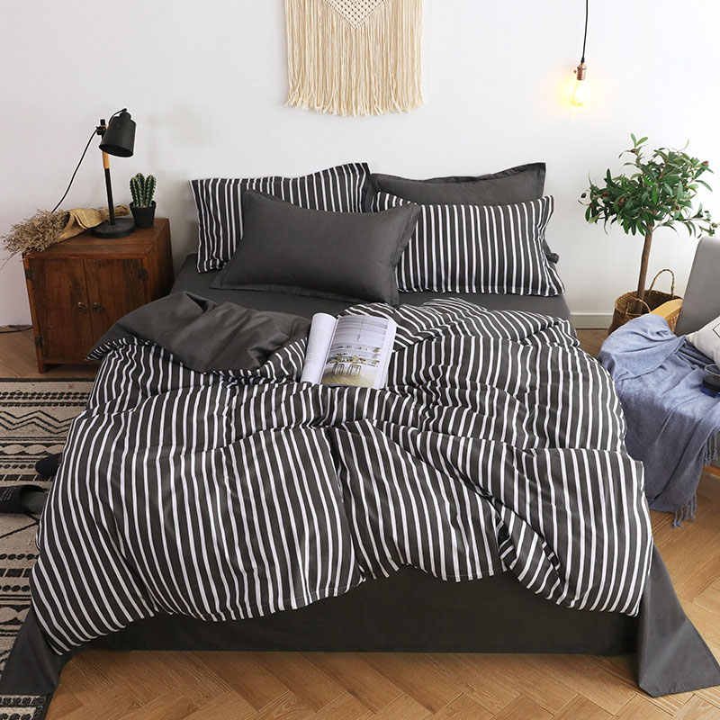Stripe 4pcs Girl Boy Kid Bed Cover Set Duvet Cover Adult Child Bed Sheets And Pillowcases Comforter Bedding Set 2TJ-61005
