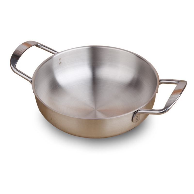 18/20/22CM Stainless Steel Paella Cooking Pan Hotpot Soup Stockpot For Crayfish Seafood Kitchen Cookware For Induction Cooker