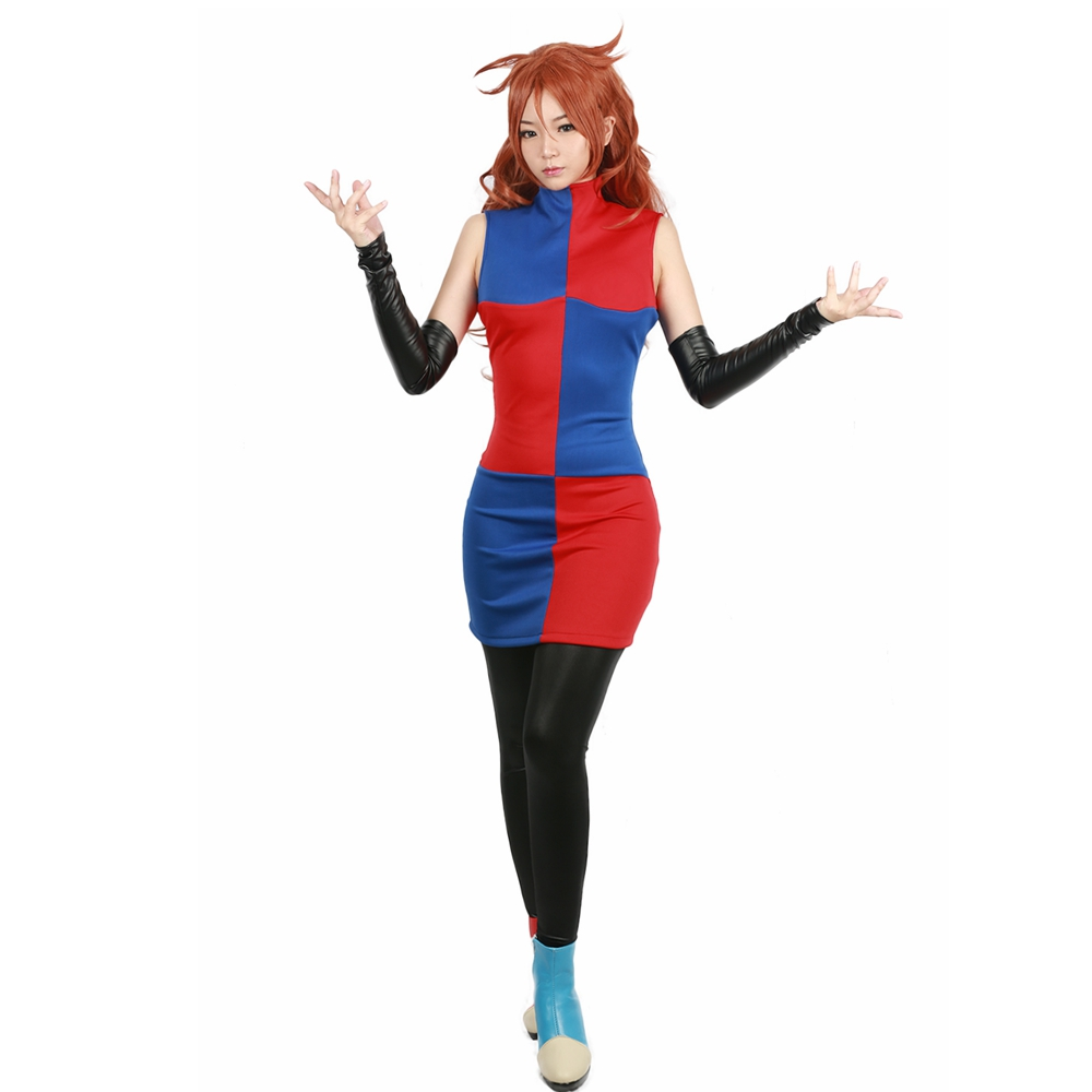 Coslive Dragon Ball Fighter Z Game Cosplay Android #21 Blue & Red Colour Block Full Set Costume colour block gather bikini set in red