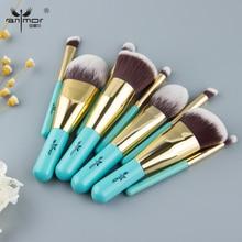 Anmor 9 adet makyaj fırçaları seyahat dostu marka fırçalar seti profesyonel makyaj fırçalar mavi & altın renk moda Kabuki fırça